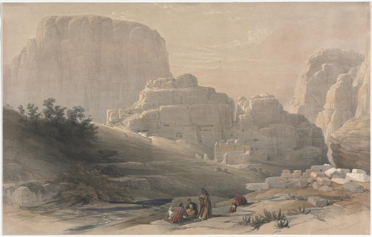 David Roberts Petra Lower End Of The Valley Viewing The Acropolis